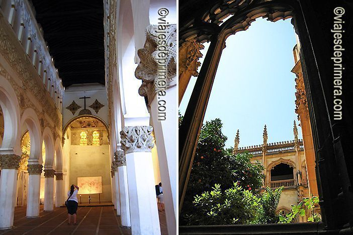 La sinagoga de Santa María la Blanca está muy cercana al Monasterio de San Juan de los Reyes, manifestando la consideración de Toledo como ciudad de las tres culturas.