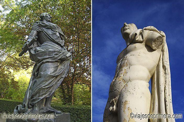 Estatua de Carlos III en el Jardín Botánico de Madrid y escultura en el yacimiento de Itálica, muy cerca de Sevilla.