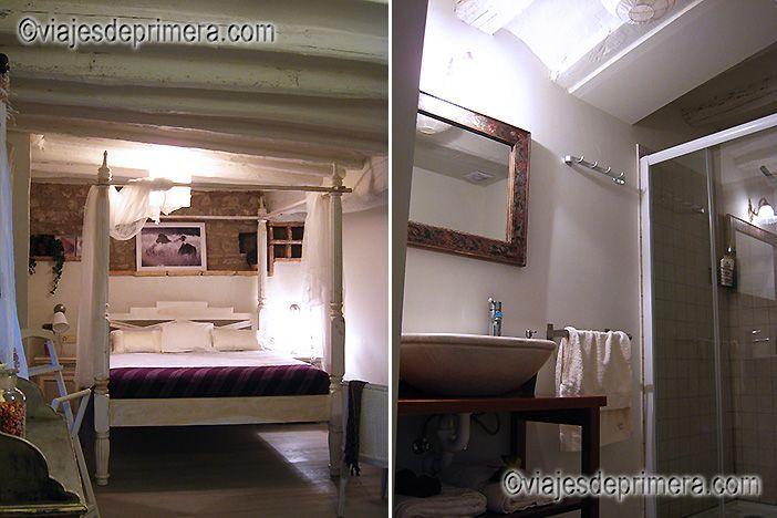 Habitación y baño del hotel El Secreto de Ollo de Navarra