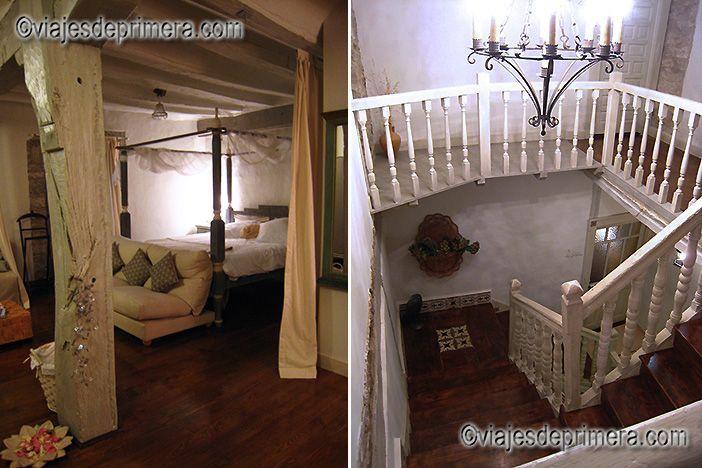 Suite el Palomar y escalera central del hotel con encanto El Secreto de Ollo, en Navarra