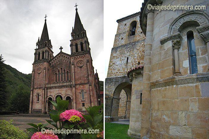 Basílica de Santa María la Real de Covadonga, en Picos de Europa, Asturias; y cabecera de la iglesia del Monasterio de San Pedro de Villanueva, donde actualmente se ubica el Parador de Cangas de Onís.