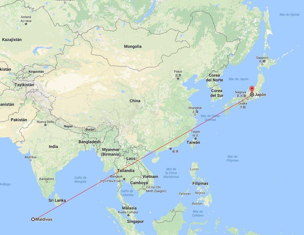 Mapa del viaje de luna de miel combinado Japón Maldivas