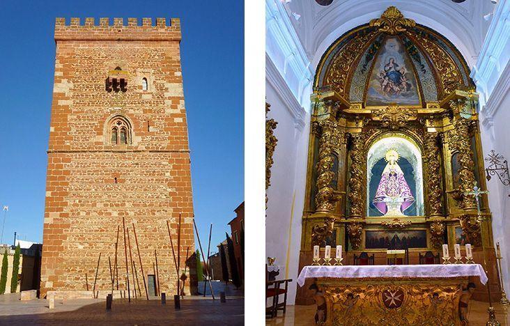 A la izquierda, el Torreón del Gran Prior y a la derecha, interior de la iglesia de Santa María la Mayor, dos lugares que ver si haces turismo en Alcázar de San Juan.