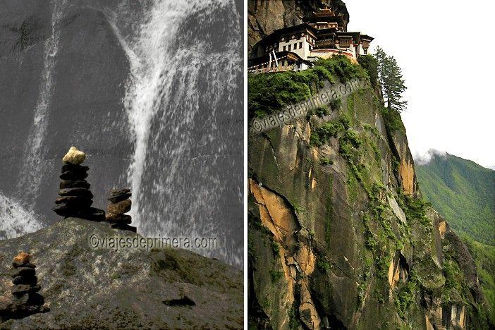 Las cascadas y los bosques verdes acompañan durante toda la peregrinación al Nido del Tigre de Bután