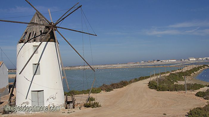 El Molino de San Quintín, ahora en desuso, se usaba en San Pedro del Pinatar parar trasladar agua del Mar Menor a las salinas que lo rodean.