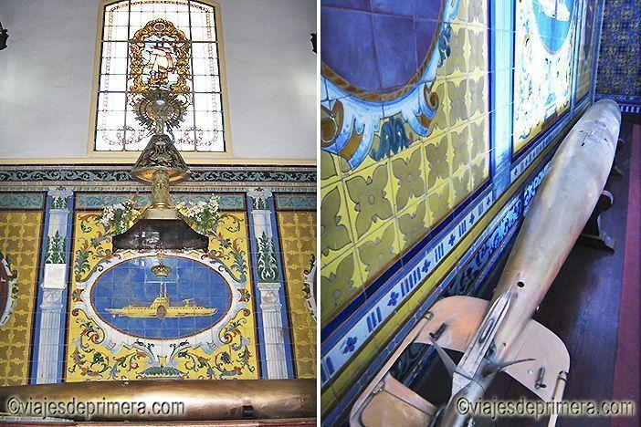 El torpedo inventado por Isaac Peral descansa bajo una imagen de la Virgen del Carmen en el edificio principal de la Base de la Armada española en Cartagena, Murcia.