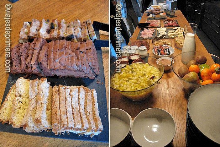La bollería del desayuno buffet del hotel Consolación es casera y se combina con productos de Teruel, como el jamón y la fruta.