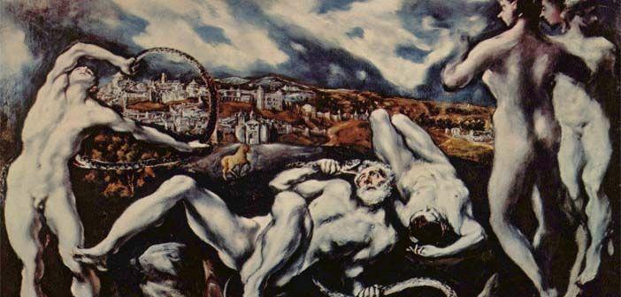 Laocoonte,cuadro de la etapa final del Greco. Al fondo,Toledo.