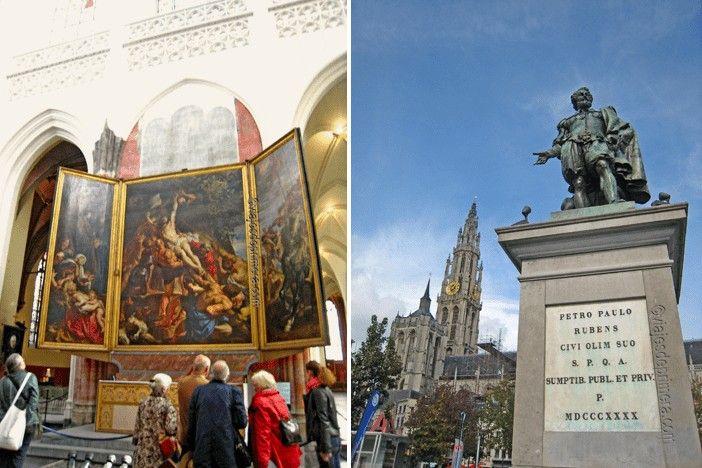 Trípticos de Rubens en la Catedral de Nuestra Señora y su estatua en la Groenplaats de Amberes.