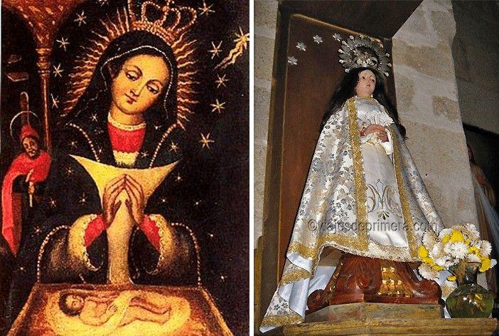 Imagen dominicana de Nuestra Señora de Altagracia y una de las réplicas garrovillanas, de la Iglesia de Santa María.