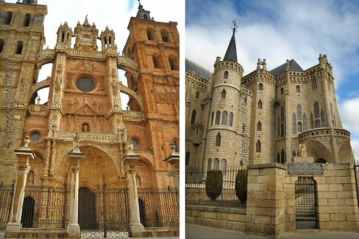 Catedral de Astorga (izqda.) y Casa de Botines (dcha.), dos de los lugares que ver en Astorga.