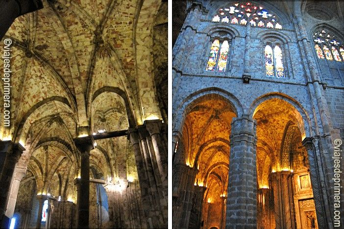 El interior de la Catedral del Salvador de Ávila destaca por sus muros sangrantes, construidos con una piedra muy particular, luego utilizada también en la iglesia de San Vicente.