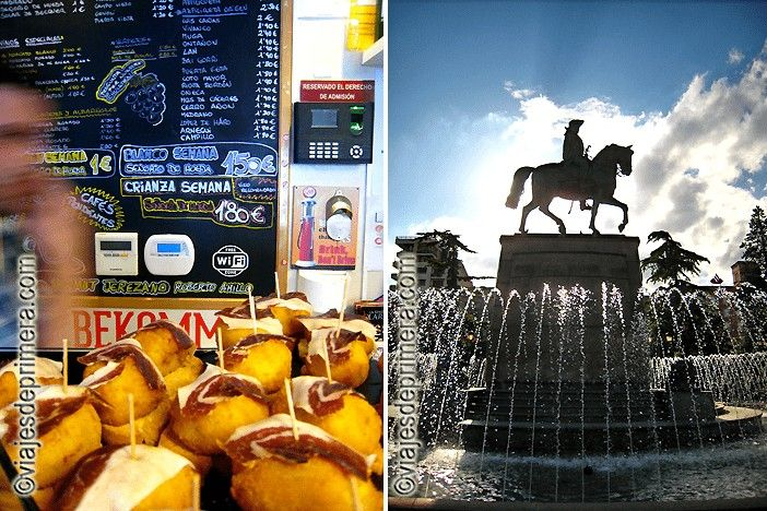 Barra de tapas en la Calle Laurel y escultura del General Espartero en el paseo de El Espolón de Logroño.