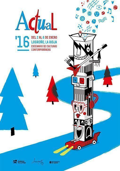 Cartel del Festival Actual 2016 que se celebra en enero en Logroño, La Rioja