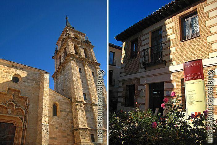 Exterior de la Catedral de Alcalá de Henares y de la entrada al Museo- Casa natal de Miguel de Cervantes en Alcalá de Henares, Madrid