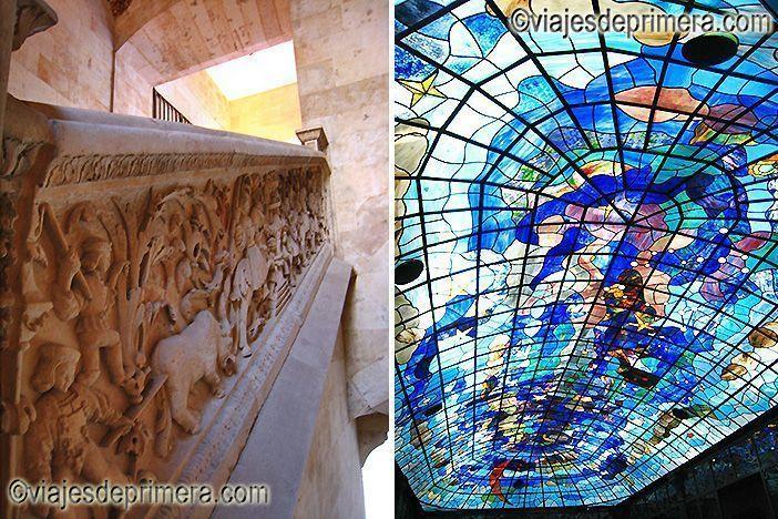 Escalera de la Sabiduría y cúpula central del Museo Art Noveau Arte Decó Casa Lis, dos lugares que ver en una escapada de dos días a Salamanca
