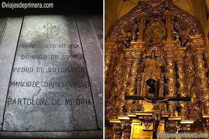 Tumba de Fray Francisco de Vitoria en el Convento de San Esteban y retablo del altar mayor de su iglesia en Salamanca
