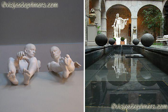 Las esculturas, modernas y clásicas, sorprenden en la recepción y en el Patio Toscano del Parador de La Granja de San Ildefonso.