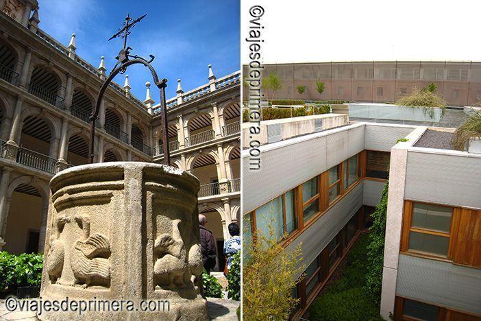 Uno de los tres patios de la Universidad de Alcalá de Henares y vista de las fachadas del Parador de Alcalá de Henares, ciudad Patrimonio de la Humanidad de Madrid.