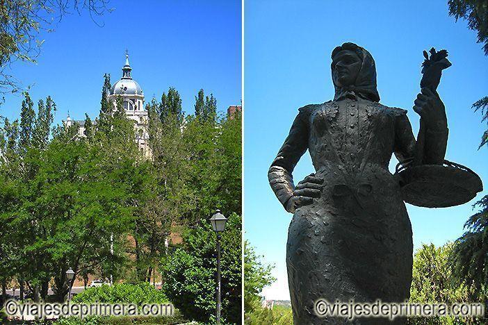 Lugares castizos de Madrid, la Catedral de la Almudena y La Chulapa de Las Vistillas.