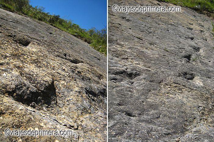 Icnitas, o huellas de dinosaurios, en el yacimiento de El Villar Poyales, en Enciso, La Rioja
