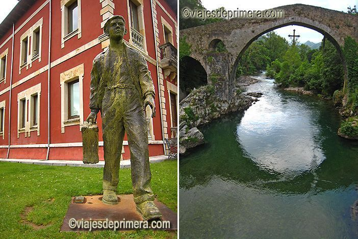 Monumento el emigrante frente a la oficina de turismo de Cangas de Onís y el Puente romano de la localidad, uno de sus símbolos más característicos.