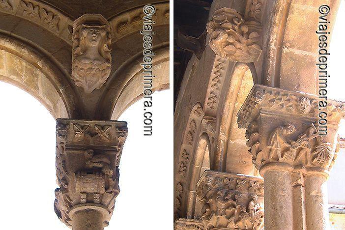 Toneleros y segadores comparten espacio con nobles y clero en los capiteles del claustro de Santa María la Real de Nieva, en Segovia