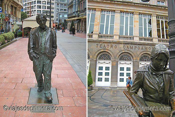 La ruta de las esculturas de Oviedo incluye la de Woody Allen y la de Esperanza caminando frente al Teatro Campoamor.
