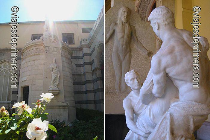 Patio del claustro del Panteón de Hombres Ilustres de Madrid y detalle del monumento de Canalejas