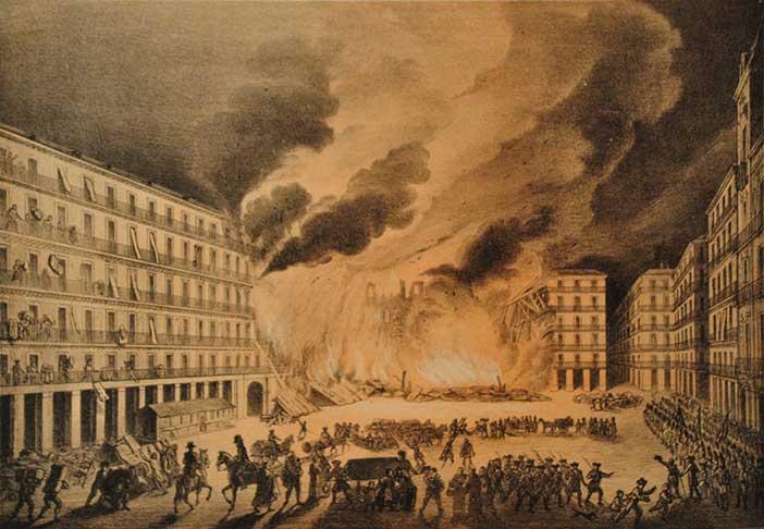 Matafuegos, precedente de los bomberos de Madrid apagaron el incendio de la Plaza Mayor de 1790