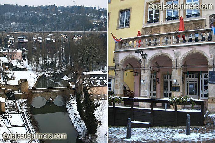 Vistas desde The Bock y entrada de la taberna más antigua de Ciudad de Luxemburgo, en la Ile Gastronomique.
